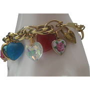 Puffy Heart Locket Gold Toned Bracelet 1960's