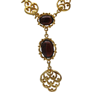 Regal Gold toned Ruby Red Glass Necklace
