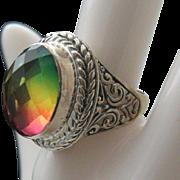 Sterling Rainbow Quartz Ring size 7 1/2