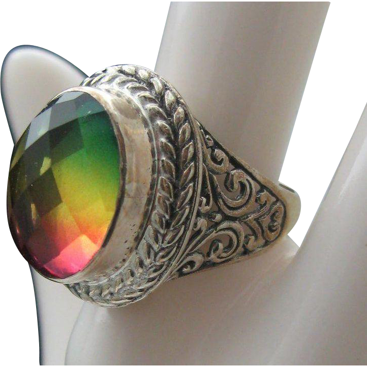 Sterling Rainbow Quartz Ring size 7 1/2