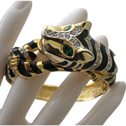 Tiger Cat Rhinestone Bracelet c1980