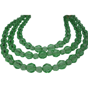 Cut Crystal Apple Green Three Strand Necklace