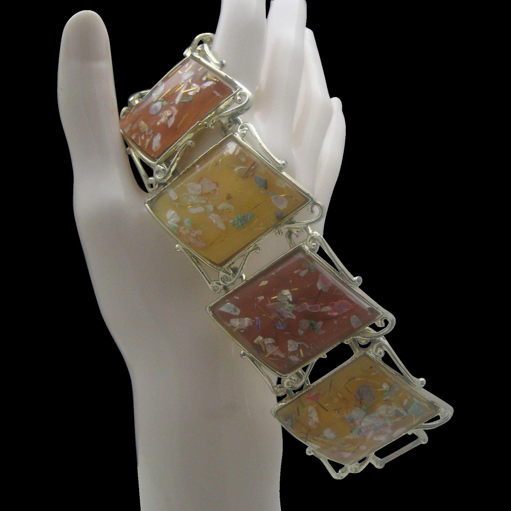 Pumpkin Spice Confetti Lucite Bracelet 1960
