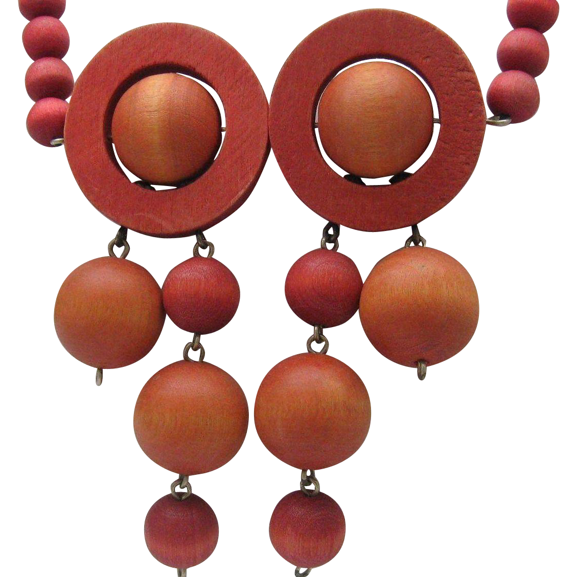 Art Deco Wooden Op Necklace