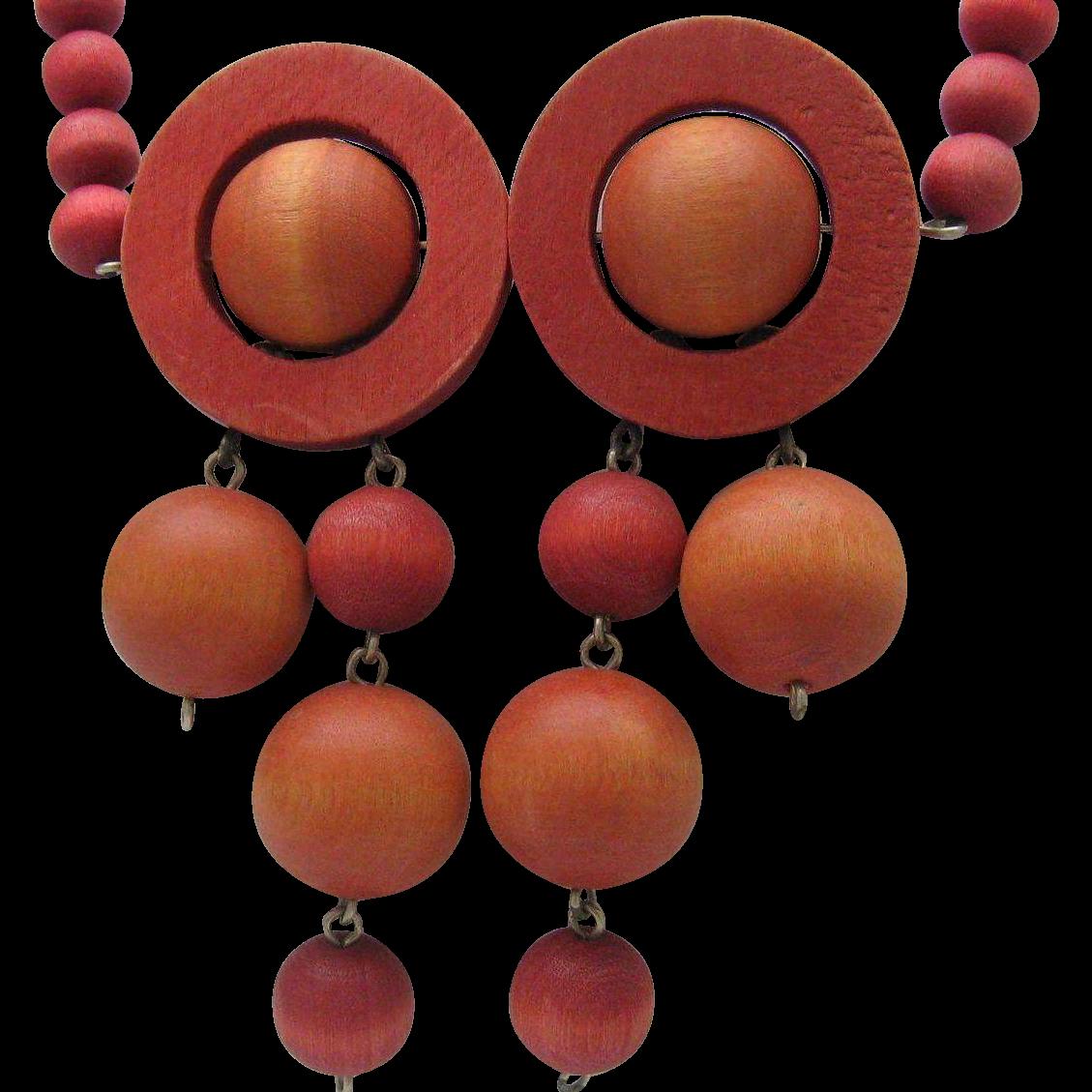 Art Deco Wooden Op Necklace