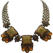 Confetti Necklace Rhinestones Mid Century
