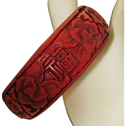 Cinnabar Bracelet Peonies and Chinese Characters