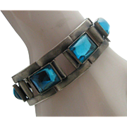 Teal Glass Architectural Chrome Mid Century Bracelet