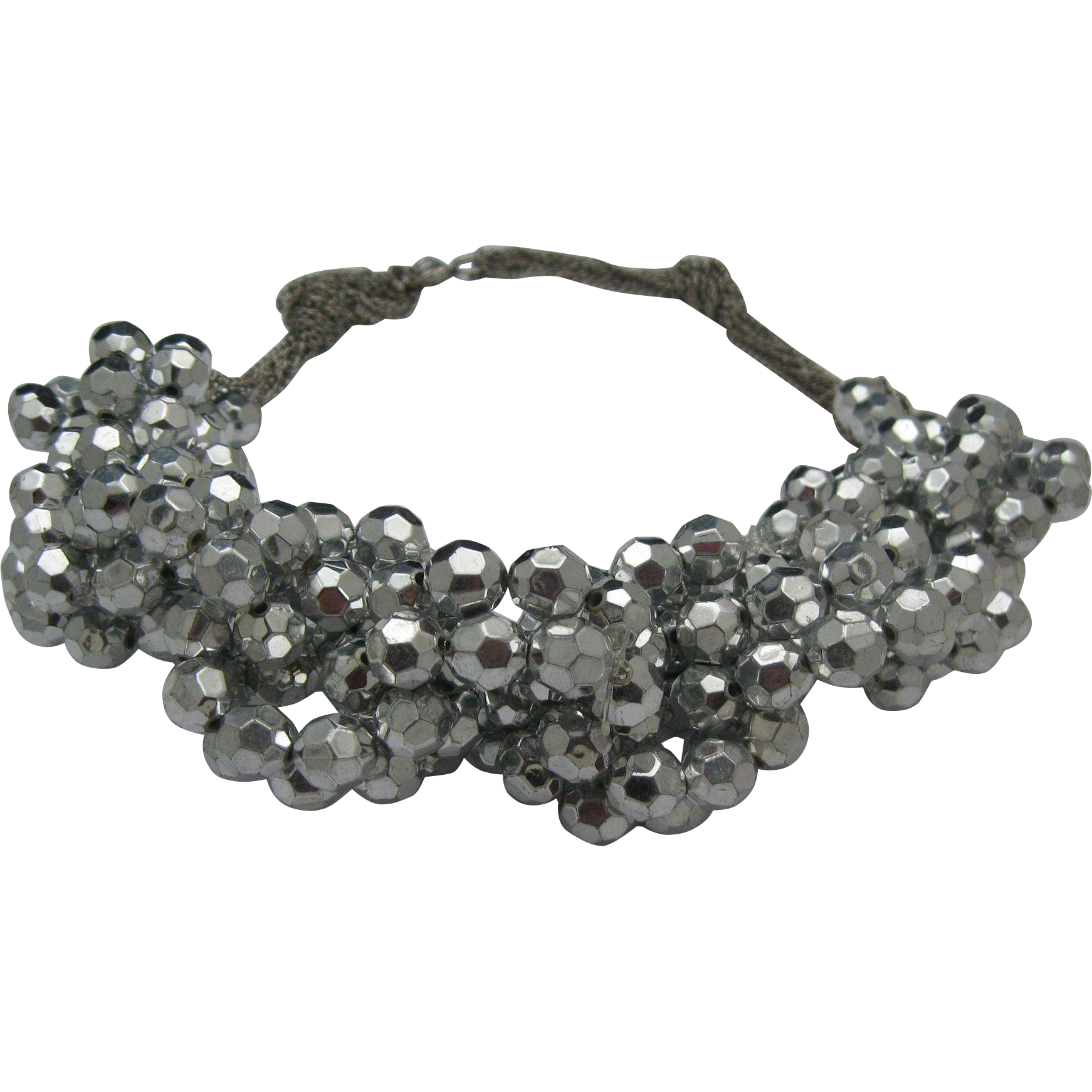 Silver Twist Bling Necklace c1980