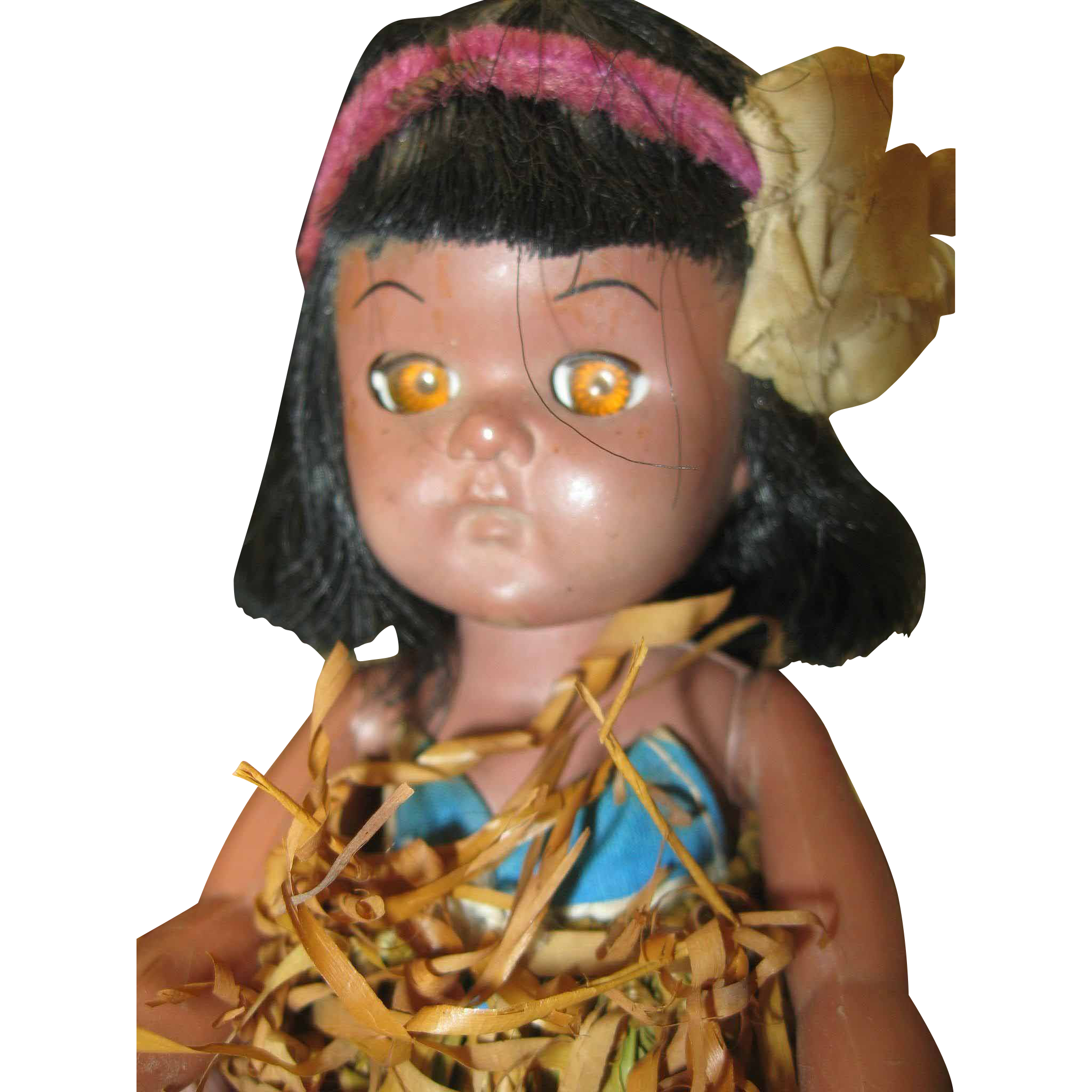 Traditional Hawaiian Doll Grass Skirt
