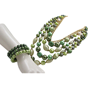 Marvella Green faux Pearl Necklace Bracelet