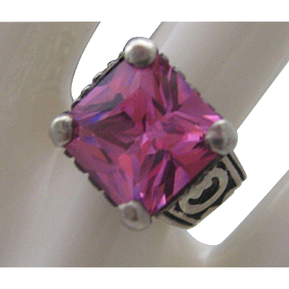 Sterling Silver Pink Quartz Ring 4 1/2