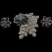 Made in Austria Crystal Brooch earrings set c1970
