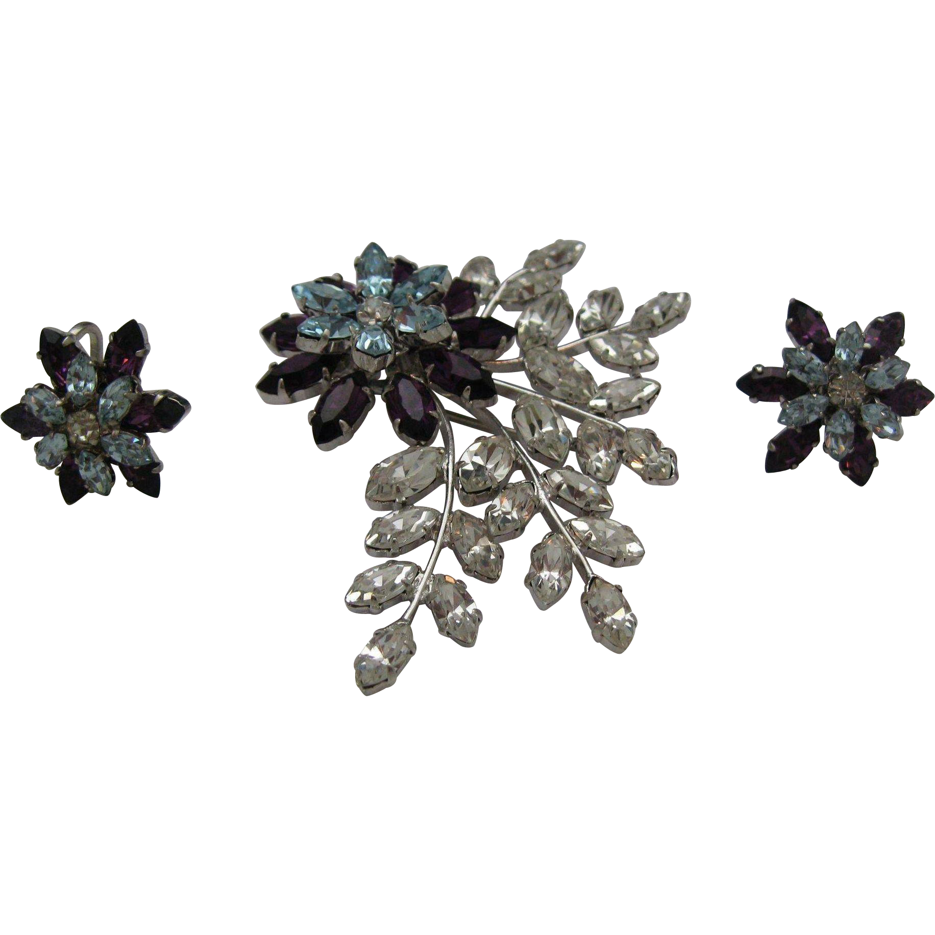 Made in Austria Crystal Brooch earrings set c1970