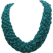 Turquoise Glass Bead Braided Necklace