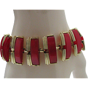 Red Moonglow Coro Thermoplastic Bracelet 1960