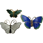Three David Anderson Norway Sterling Butterfly Brooches
