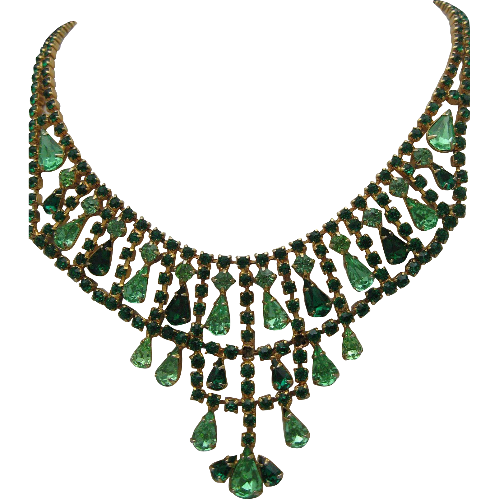 Emerald Rhinestone Necklace Earrings Set 1960