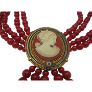 Victoria Style Cameo Necklace Red Beads c1970