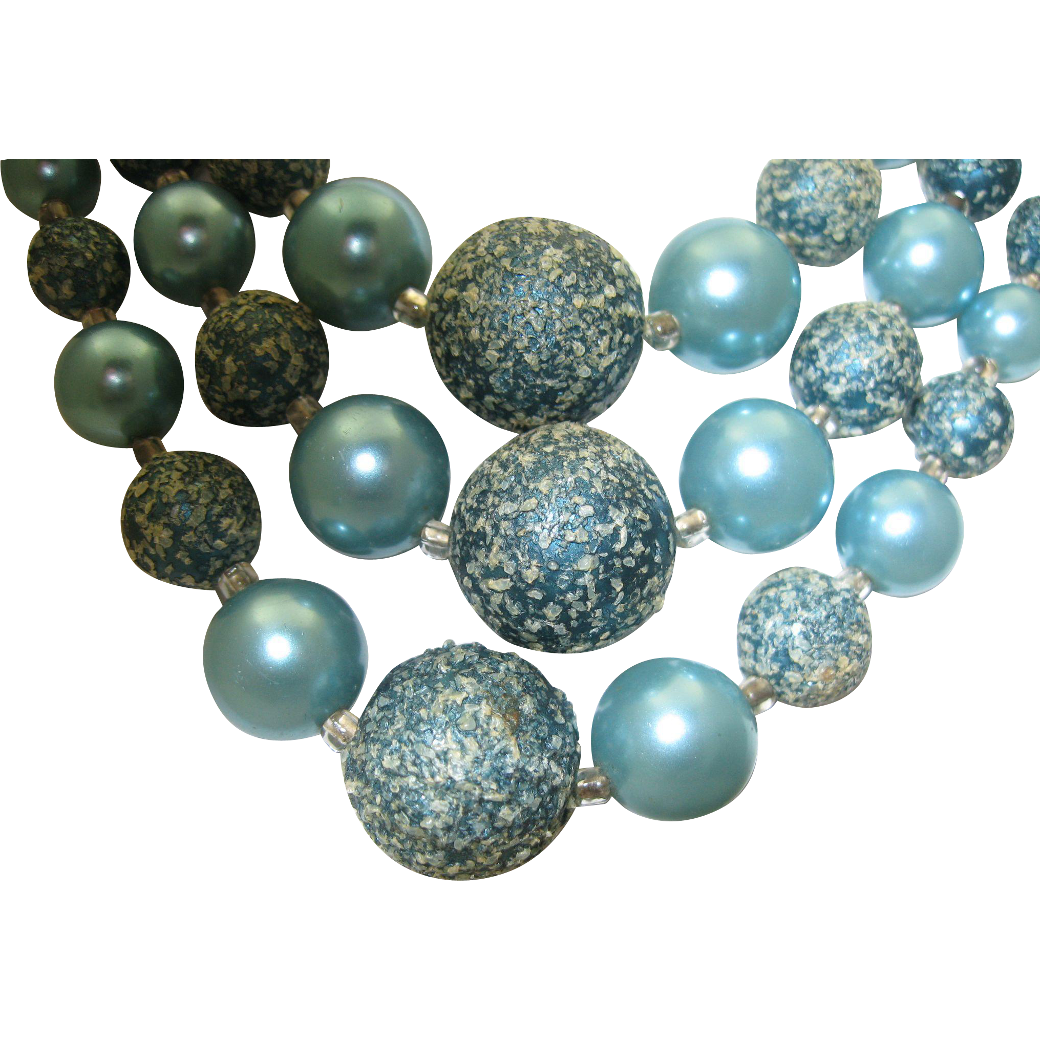 Teal Japan Three Strand Necklace