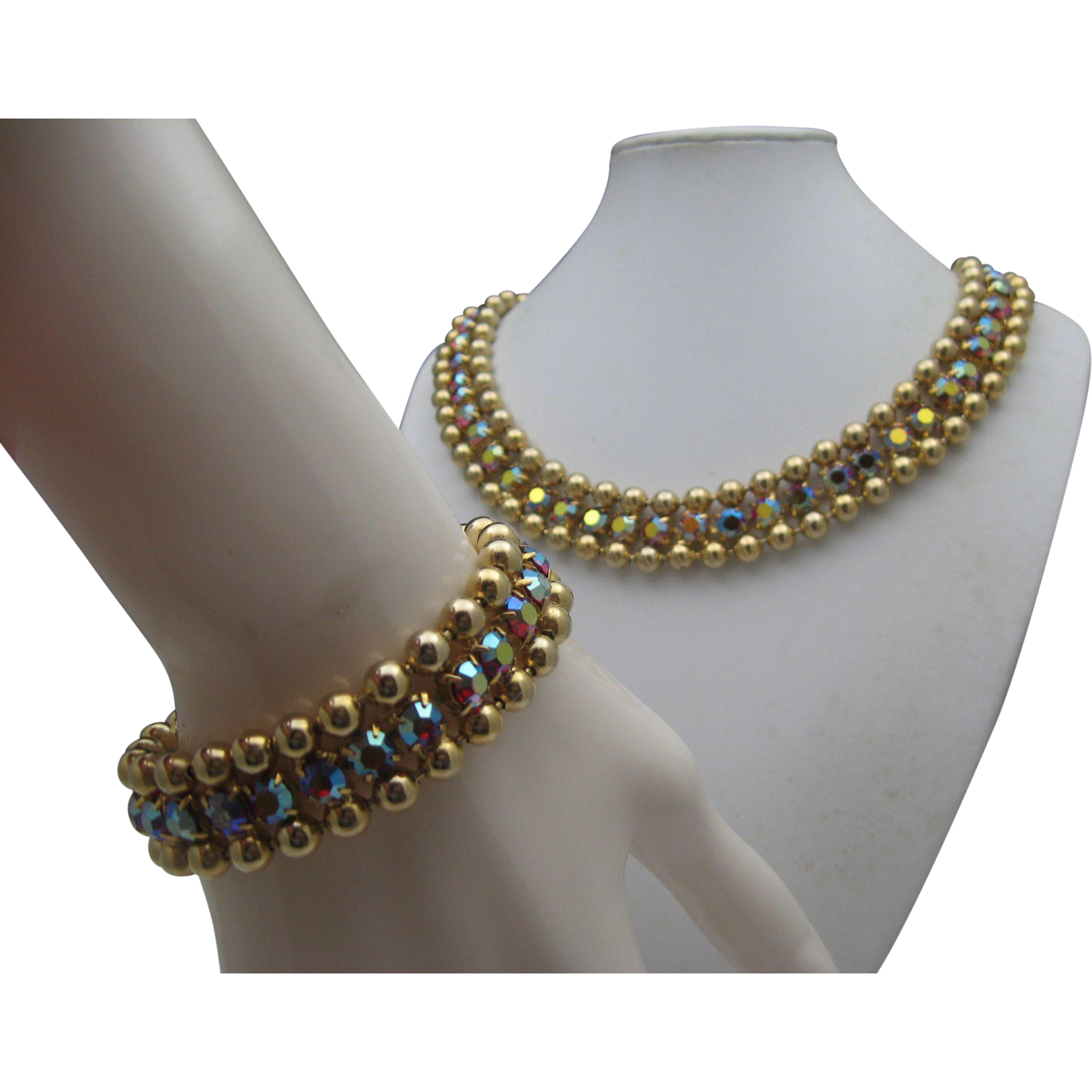 Aurora Borealis Golden Necklace Set 1960