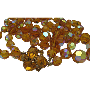 Amber Crystal Necklace 1960