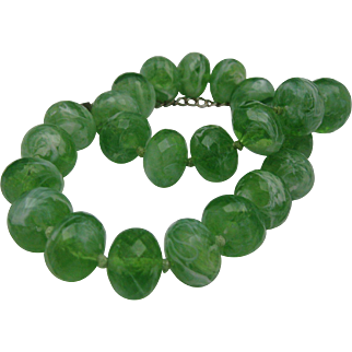 Peppermint Swirl Plastic Necklace 70's
