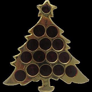 Golden Christmas Tree Red Balls Brooch