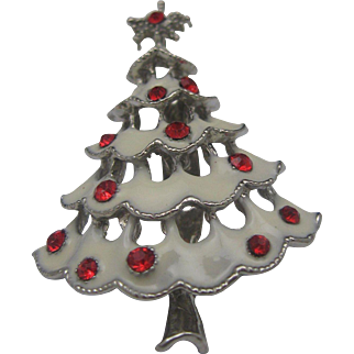 Silver and White Christmas Tree Brooch