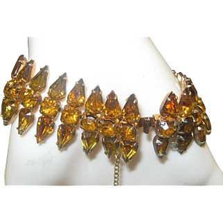 Amber Rhinestone Cocktail bracelet 1960