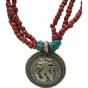 Unisex Tribal Ethnic Turquoise Coral Necklace