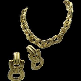 Gold Toned Chain Link Necklace Doorknocker Earrings