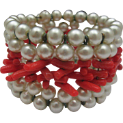 Faux Pearl Coral Memory Wire Bracelet c1950