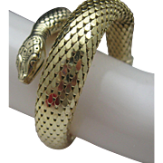 Golden Mesh Coiled Snake Bracelet