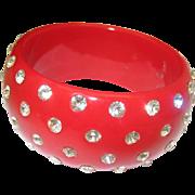 Red Celluloid Rhinestone Bracelet c1960 Very Fab London