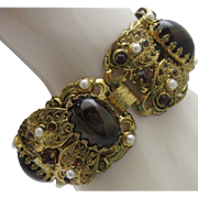 Victorian Revival Tigers Eye Filigree Bracelet
