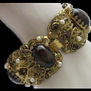 Victorian Revival Tigers Eye Filigree Bracelet