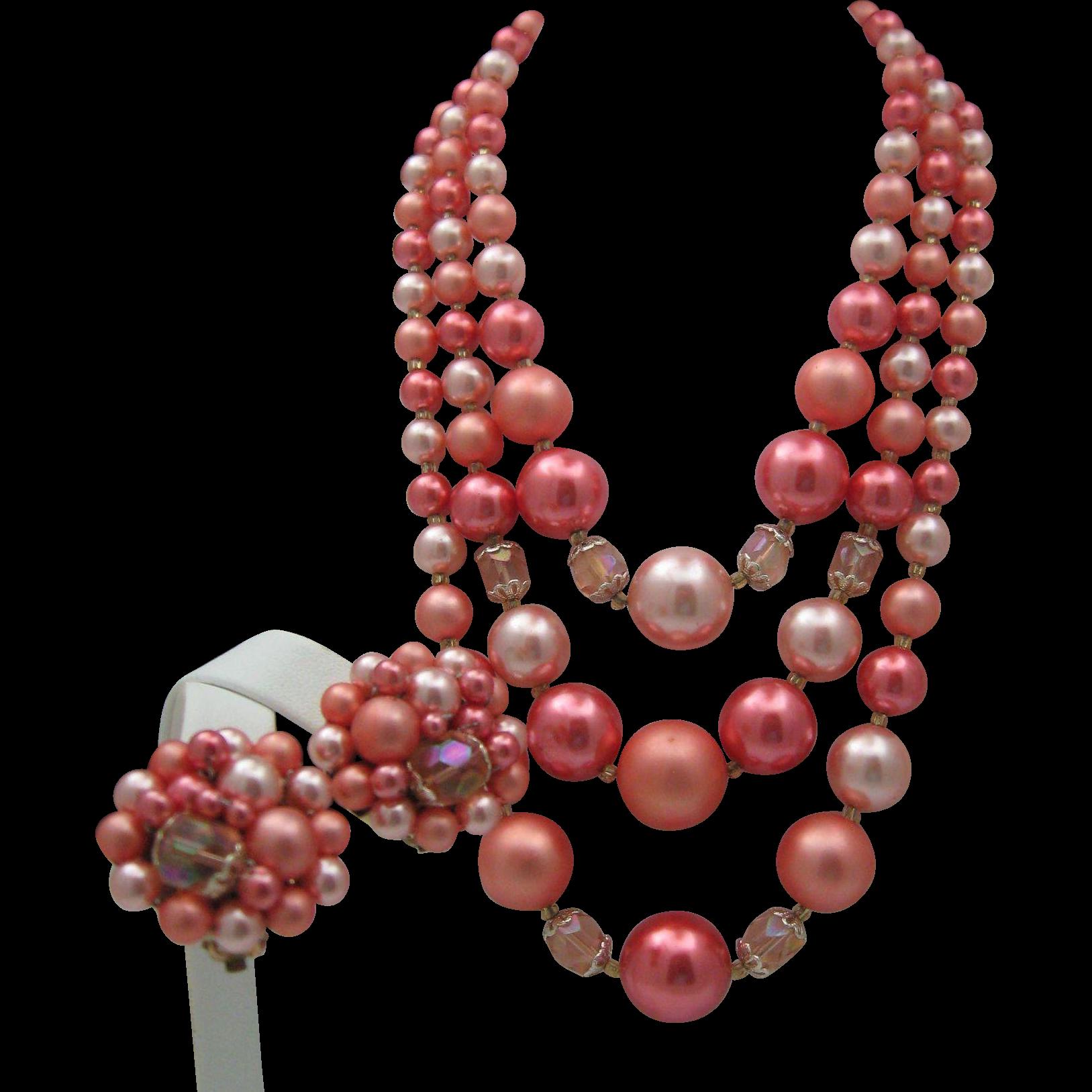 Rose Petal Japan Necklace Earrings Set