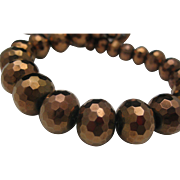 Deco Style faceted Copper Glass Beads