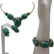 Malachite Parure c1960 Necklace Earrings bracelet