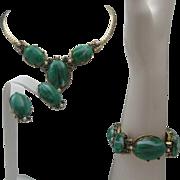 Malachite Parure c1960 Necklace Earrings bracelet