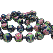 Cloisonne Necklace Lilac Midnight Blue 26 inches