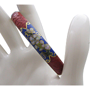 Cinnabar and Cloisonne Bangle Bracelet c1950