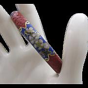 Cinnabar and Cloisonne Bangle Bracelet c1950