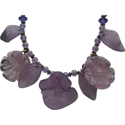 Purple Lucite Floral Necklace c1970