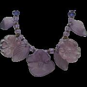 Purple Lucite Floral Necklace c1970
