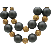 Golden Balls Ebony Sophisticated Necklace 1980