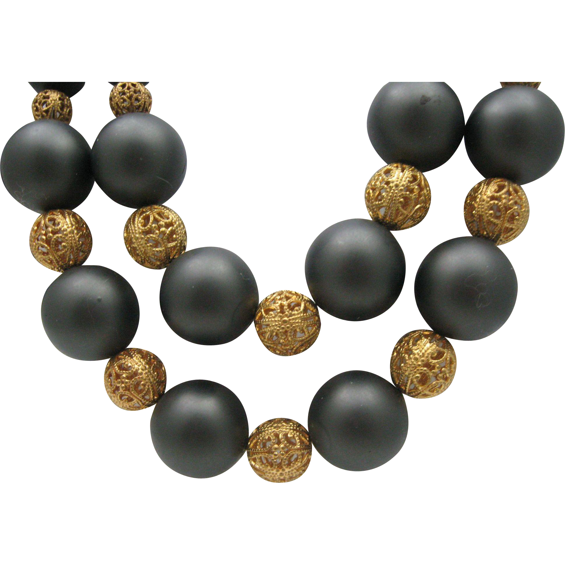 Golden Balls Ebony Sophisticated Necklace 1980