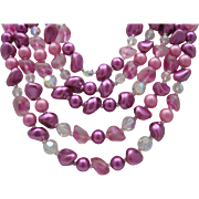 5 Strand Purple Glass Crystal necklace c1960