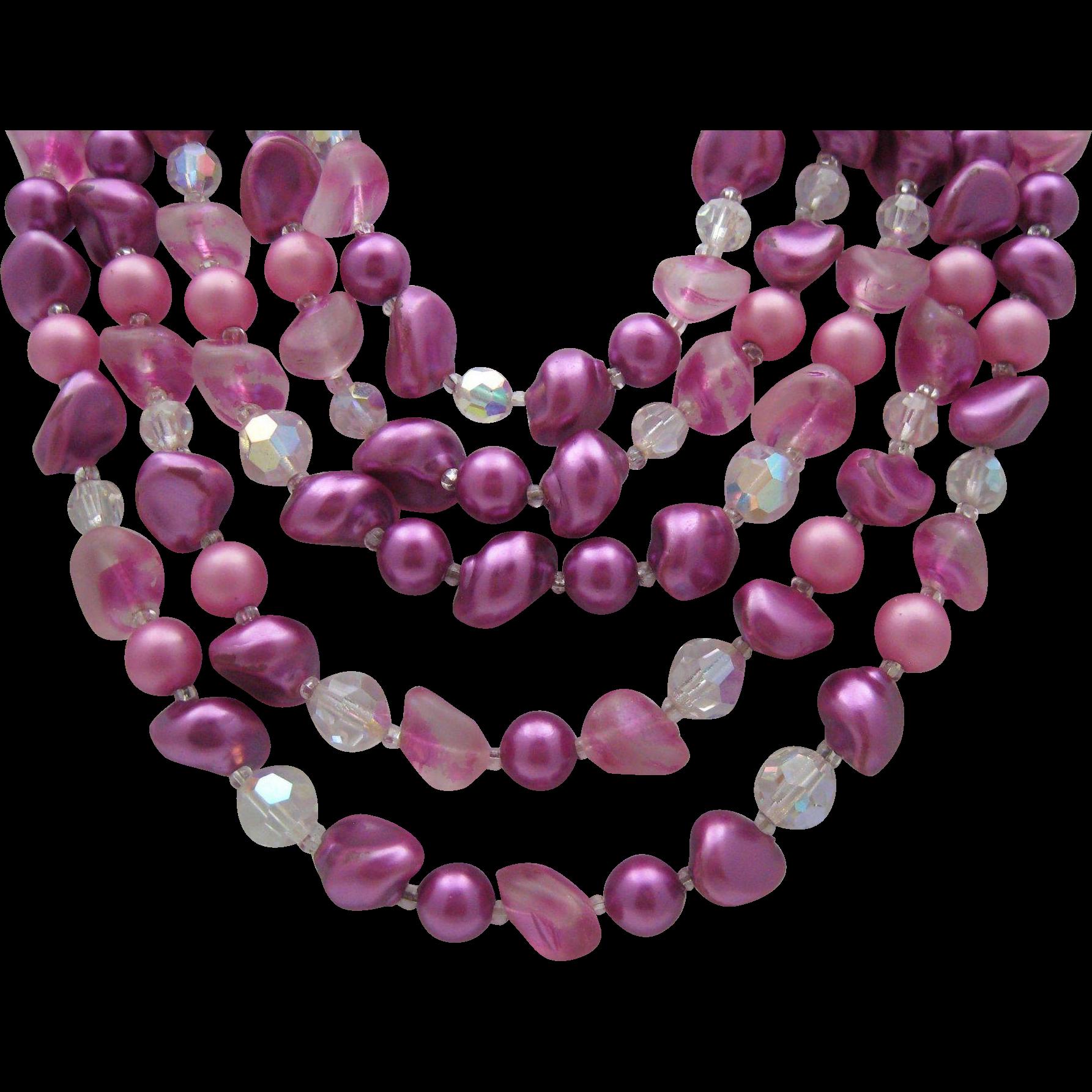 5 Strand Purple Glass Crystal necklace c1960